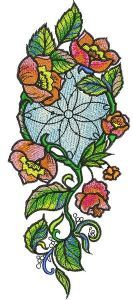 Decoration with poppies embroidery design