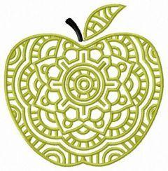 Decorative green apple embroidery design