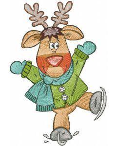 Deer ice skating embroidery design