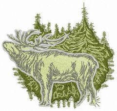 Deer in forest embroidery design