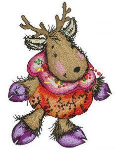 Deer in pumpkin costume embroidery design
