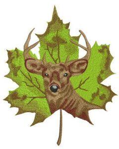 Deer on maple leaf embroidery design