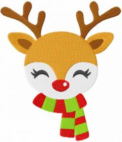 Deer Rudolph in a scarf embroidery design