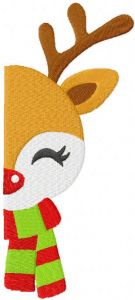 Deer rudolph in a scarf half muzzle embroidery design