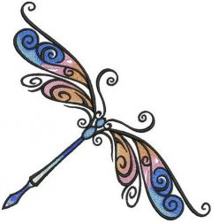 Delicate dragonfly embroidery design