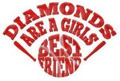 Diamonds are girl's best friend embroidery design