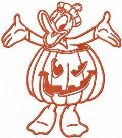 Donald Duck pumpkin costume embroidery design