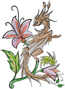Dragon and lily embroidery design