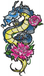 Dragon lily embroidery design