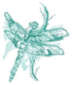 Dragonfly sitting on branch embroidery design