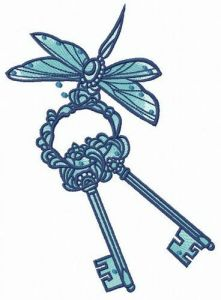 Dragonfly with keys embroidery design