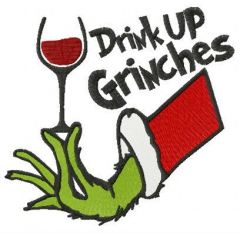 Drink up Grinches red vine embroidery design