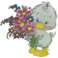 Duckling with bouquet 2 embroidery design