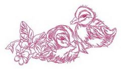 Ducklings waiting for mom embroidery design