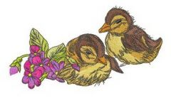 Ducklings with violets 2 embroidery design