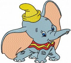 Dumbo playing embroidery design