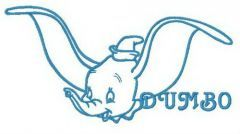 Dumbo ready to fly embroidery design