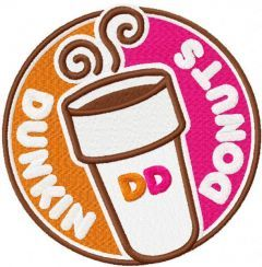 Dunkin Donuts round logo embroidery design