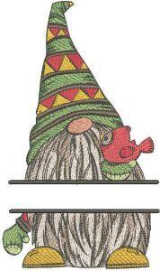 Dwarf with bird monogram embroidery design