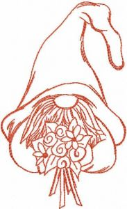 Dwarf with flowers redwork free embroidery design