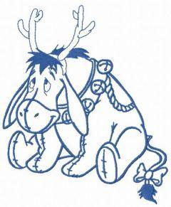 Eeyore with deer horns embroidery design 2