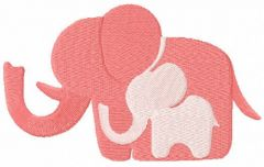 Elephant mom and baby free embroidery design