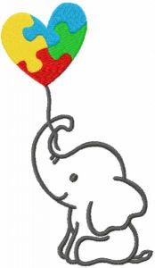 Elephant with Autism Puzzle Heart free embroidery design