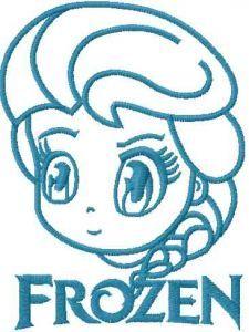 Elsa chibi 5 embroidery design