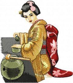 Tea Geisha embroidery design
