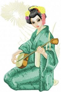 Geisha with Musical Instrument embroidery design