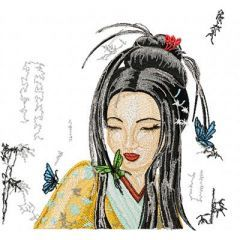 Geisha with Small Butterfly embroidery design