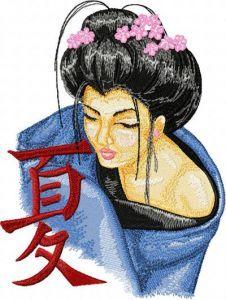 Geisha with Hieroglyphic embroidery design