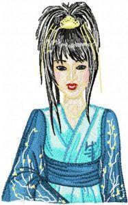 Geisha in Blue embroidery design