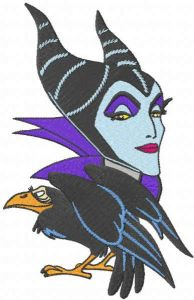 Evil Queen and crow embroidery design