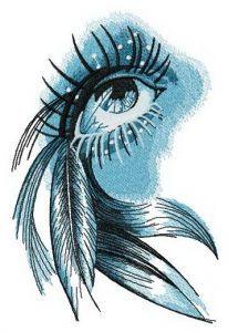 Eye of Indian girl embroidery design
