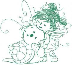 Fairy and snail one colored embroidery design