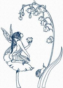 Fairy and flower embroidery design