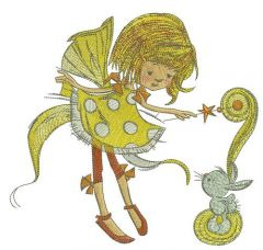 Fairy in polka dot dress with bunny embroidery design