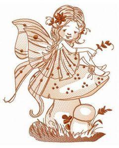 Fairy sitting on mushroom embroidery design