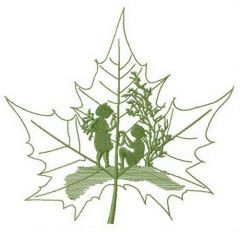 Fairy tale told by maple leaf embroidery design