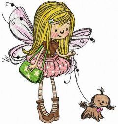Fairy with lapdog embroidery design