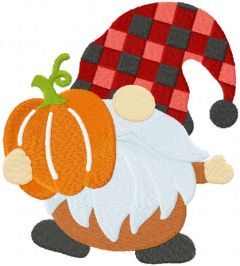 Fall gnome with pumkin embroidery design