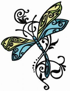 Fancy dragonfly 3 embroidery design