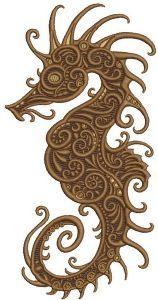 Fancy sea horse embroidery design