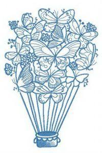 Fantastic hot air balloon embroidery design