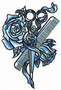 Female hairdresser embroidery design