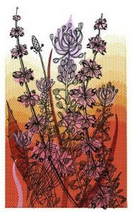 Field and sunset embroidery design