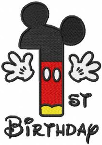 First birthday mickey embroidery design