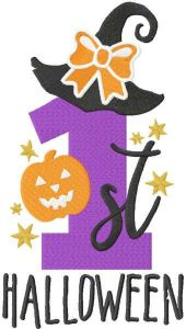 First Halloween embroidery design