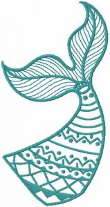 Fish tale one color embroidery design